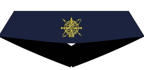 "Weapons Engineer Cummerbund (Blue with Gold WE Badge) - Sizes 30"" to 50"""